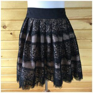Forever 21 Black Pink Lace Mini Skirt Small